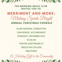 """Merriment and More: Making Spirits Bright"" The Morning Music Club Annual Christmas Chorale"