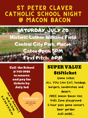 St Peter Claver Catholic School Night at Macon Bacon