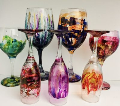 Fired Alcohol Ink Wine Glass Workshop