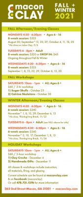 Macon Clay Fall & Winter Classes and Workshops...