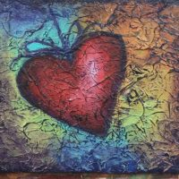 "Coffee and Canvases: ""I Love Summer"" Textured Heart Painting"