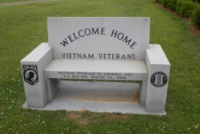Veterans Memorial Bench in park across from City Hall (Rosa Parks Square)